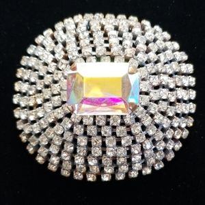 Vintage Czech Glass Crystal Rhinestone Brooch Pin